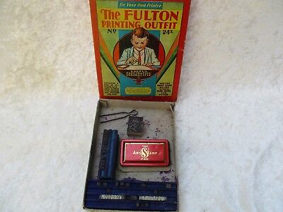 """Antique Vintage """"The Fulton Printing Outfit"""" No. 24x in the Box"""