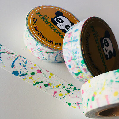 Washi Tape Paint Drips & Drops 15Mm X 10Mtr Planner Wrap Mail Art Craft Scrap