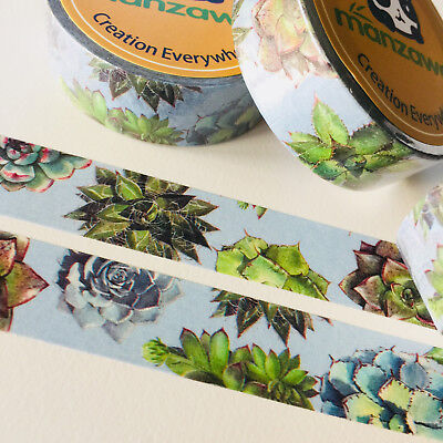 Washi Tape Cactus Succulent On Blue 15Mm X 10Mtr Planner Wrap Mail Art Craft