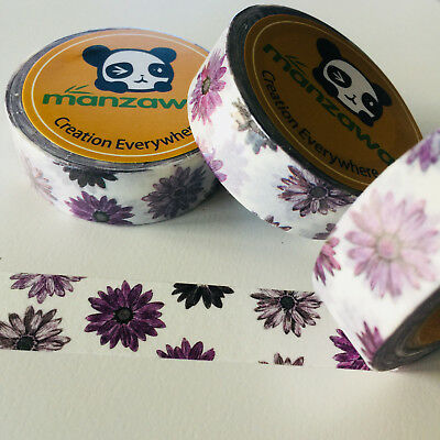 Washi Tape Deep Violet Daisy 15Mm X 10Mtr Planner Wrap Mail Art Craft Scrap