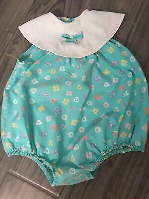 Yardbritches vintage baby bubble romper white collar size 3