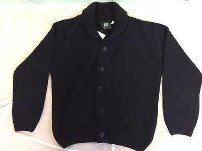 T.Q. Knits Boys School Sweater Size 5 6 Blue Navy Button Down Low Pill 1490