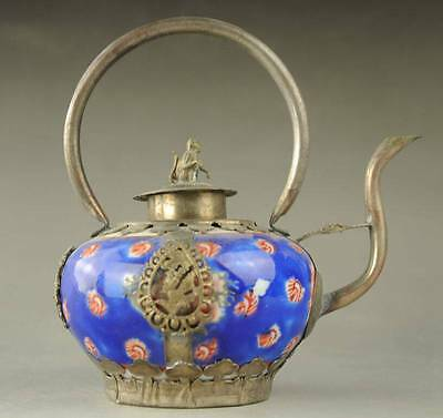 Old Chinese Porcelain Copper Collectable Handwork Old monkey Tea Pot