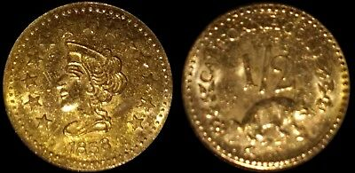 Rare 1858 California Gold 1/2 Coronet Head Fractional Souvenir Token Coin