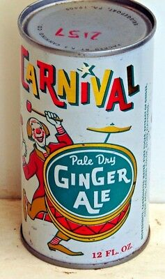 Carnival Pale Dry Ginger Ale; flat top / solid top steel soda Pop Can