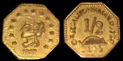 Rare 1857 California Gold 1/2 Dollar Octagon Coronet Head Fractional Token Coin