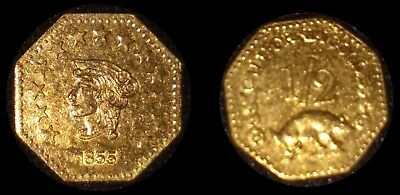 Rare 1855 California Gold 1/2 Dollar Octagon Coronet Head Fractional Token Coin