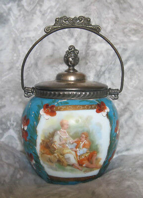 BISCUIT JAR / CRACKER BARREL Blue floral on white glass with scene by Boucher