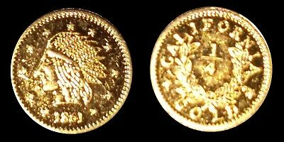 Rare 1861 California Gold 1/4 Indian Head Fractional Pioneer Souvenir Token Coin