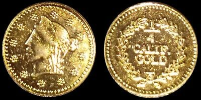 Rare 1850's California Gold 1/4 Coronet Head Fractional Souvenir Token Coin