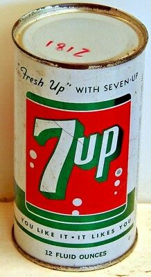 7UP; St. Louis, MO;  flat top / solid top steel soda Pop Can