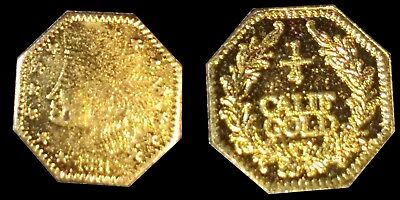 Rare 1881 California Gold 1/4 Octagon Indian Head Fractional Souvenir Token Coin