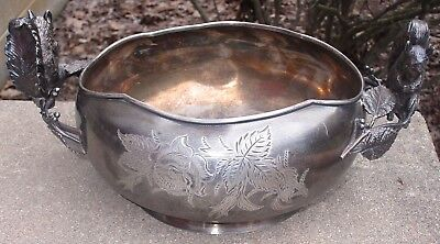 Old Antique Barbour Silver Co Bowl Figural Squirrel On Branch Eating Nut
