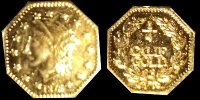Rare 1876 California Gold 1/4 Dollar Octagon Coronet Head Fractional Token Coin