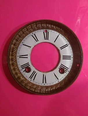 VINTAGE ANTIQUE  MANTLE CLOCK Dial Face brass beveled glass hinged Roman numeral
