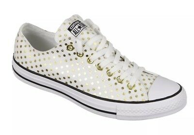 5a5ac878d42 All Star Converse Ox White Gold Black Polka Dot Canvas Sneakers Unisex M10  W12