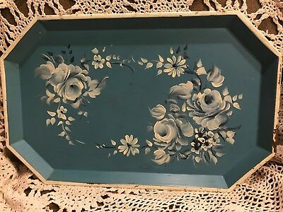 Nashco New York tole tray blue with flowers