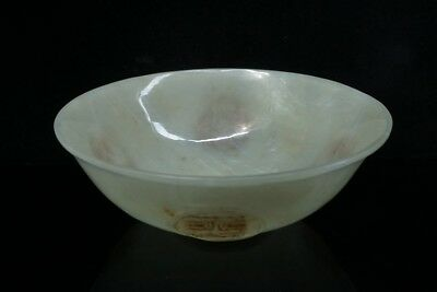 Chinese Exquisite Hand carved Ancient text carving Hetian jade Bowl
