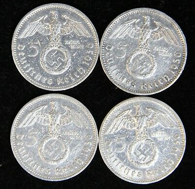 4 Coin Third Reich 5 Reichsmark Silver Set Four 1936-A Berlin Mint Polished