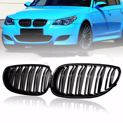 FOR 03-09 BMW E60 E61 5 Series M5 Front Kidney Grill Double Line Gloss Black h3y