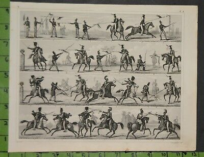 Calvary Military Equestrian 1849 Bilder Atlas Engraving -  12x9 Inches