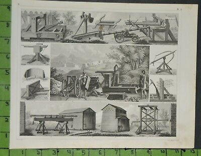 Medieval Military Siege Weapons 1849 Bilder Atlas Engraving -  12x9 Inches