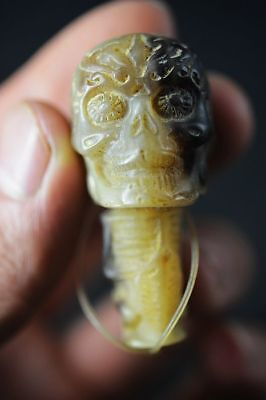 Collection Chinese Ox horn Carved *Human skeleton head* pendant   E99