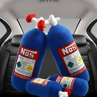 NOS Nitrous Oxide Bottle Pillow Plush Toy Turbo JDM Cushion Decor Headrest Car