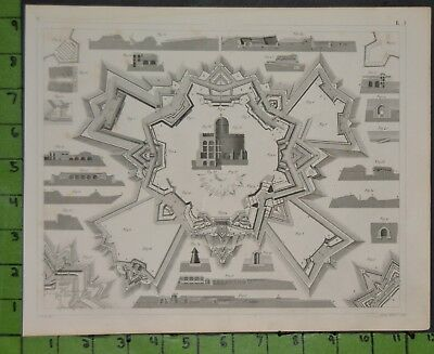 Fortress Architecture Warfare 1849 Bilder Atlas Engraving -  12x9 Inches