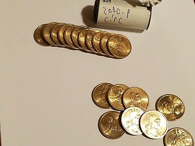 2000-P Good Circulated Roll of $25 Sacagawea Native American $1 Dollar Coins