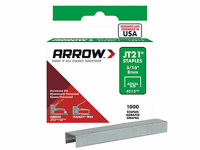 Arrow JT21 T27 Staples 8mm ( 5/16in) Box 1000 ARRJT21516S