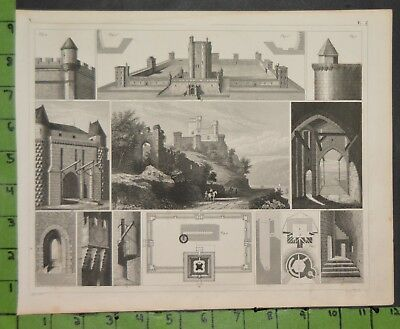Medieval Castle Architecture 1849 Bilder Atlas Engraving -  12x9 Inches
