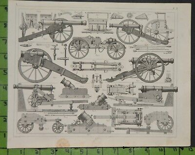 Military Cannon Engineering 1849 Bilder Atlas Engraving -  12x9 Inches