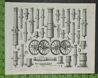 Antique Military Cannon Weapons 1849 Bilder Atlas Engraving -  12x9 Inches