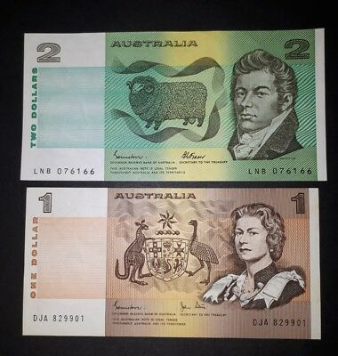 Australia 1982 $1 one dollar Johnston-Stone & 1985 $2 Johnston-Fraser note, aUNC