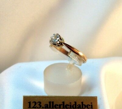 älterer Diamant Ring 585 Gold Rotgold Weißgold 0,37 ct. Goldring / BH 536