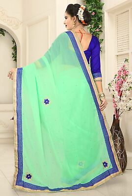 Green Georgette Sari Bollywood Sarees Indian Ethnic Bollywood Casual Clothing