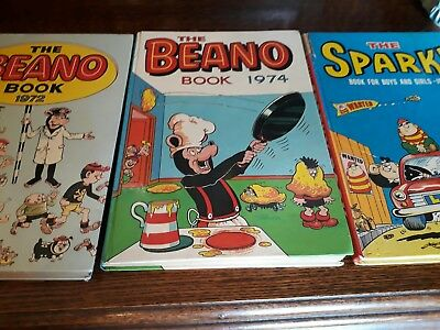 3 Vintage Annuals: The Sparky 1973, The Beano Book 1972 & 1974