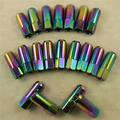 Neo Chrome 20Pcs 60Mm M14X1.5Mm Aluminum Tuner Racing Extended Forged Lug Nuts
