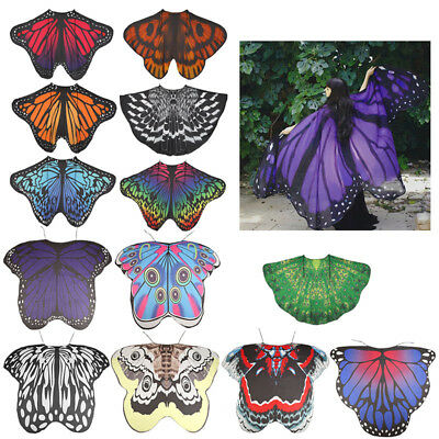 Adult Womens Fabric Butterfly Wings Cloak Robe Shawl Halloween Cape Costumes UK