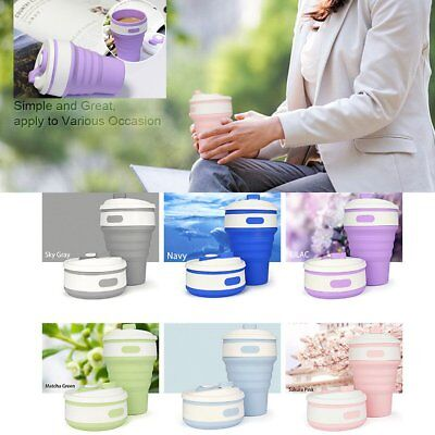 350ml Folding Outdoor Travel Coffee Cup Collapsible Portable Reusable Silicone