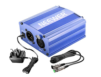 Neewer 1- Channel 48V Phantom Power Supply Blue With Adapter And One XLR Audio