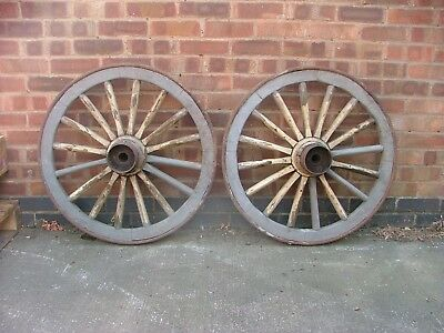 Pair Of Vintage Old Wooden Heavy Cart Wagon Wheels - Iron Rimmed Cart Wheel