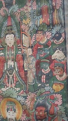 19th century rare taoist,buddhist temple hanging,scroll.canvas hand painted