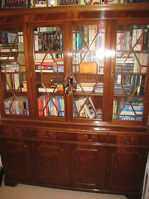 Antique reproduction mahogany and glass bookcase