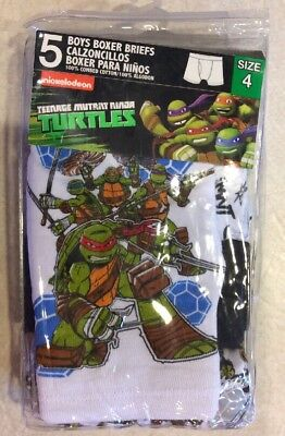 Pack of 5 Boys Size 4 Nickelodeon Teenage Turtles Boxer Briefs By Handcraft NWT