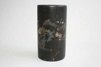 Antique Chinese Wooden Lacquer with Painting Brush Holder