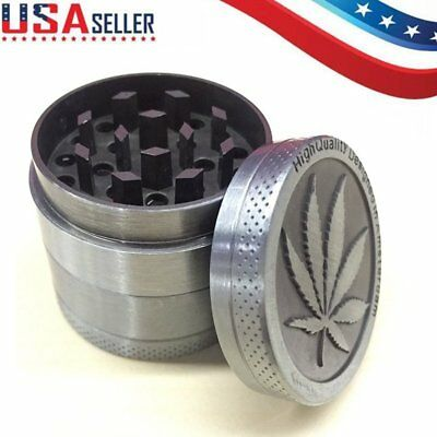 4-Piece Herb Grinder Spice Tobacco/Weed Smoke Zinc Alloy Crusher Leaf Design US