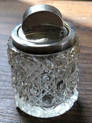 Antique Hallmarked Sterling Silver Top Cut Glass Jar Dressing Table /Vanity
