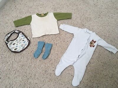 Organic Cotton Baby Clothing Lot ~ 4 pcs ~ Top, One-Piece, Bib, & Socks 0-6 mo